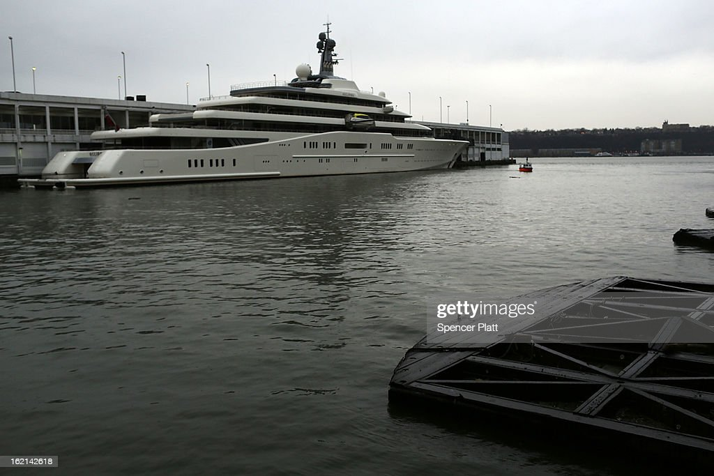 The Eclipse, reported to be the largest private yacht in the world, is viewed docked at a pier in New York on February 19, 2013 in New York City. The boat, which measures 557ft in length and is estimated to cost 1.5 billion US dollars, is owned by Russian billionaire Roman Abramovich and arrived into New York on Wednesday.