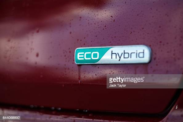 The Eco / Hybrid logo is displayed on a Kia Niro hybrid car during a photocall by the Society Of Motor Manufacturers in Potters Field on February 23...