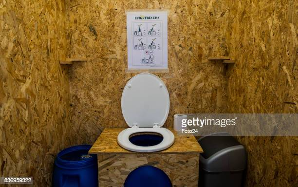 The ecofriendly mobile toilet on August 15 2017 in Johannesburg South Africa Henriëtte Vermaak along with ECOlaTRINE brought together a toilet that...