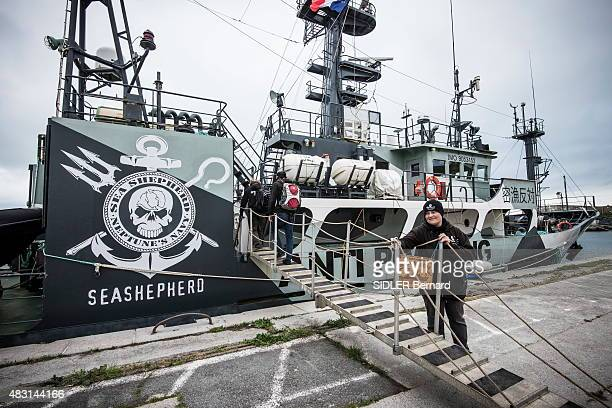 The ecologist activist Paul Watson foundator of the NGO The Sea Shephered Conservation Society is photographed for Paris Match in front of the Sam...