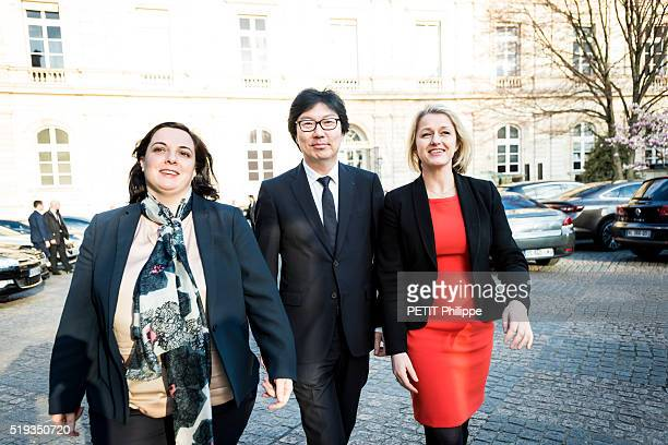 the Ecologist Ministers of French Governement with Barbara Pompili Emmanuelle Cosse and JeanVincent Place are Photographed for Paris Match on march...