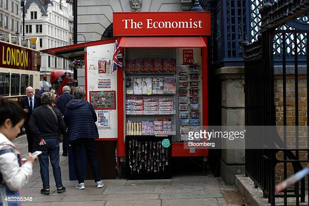 The Economist logo sits atop of a news kiosk in London UK on Tuesday July 28 2015 Pearson Plc moved closer to an exit from business publishing as it...