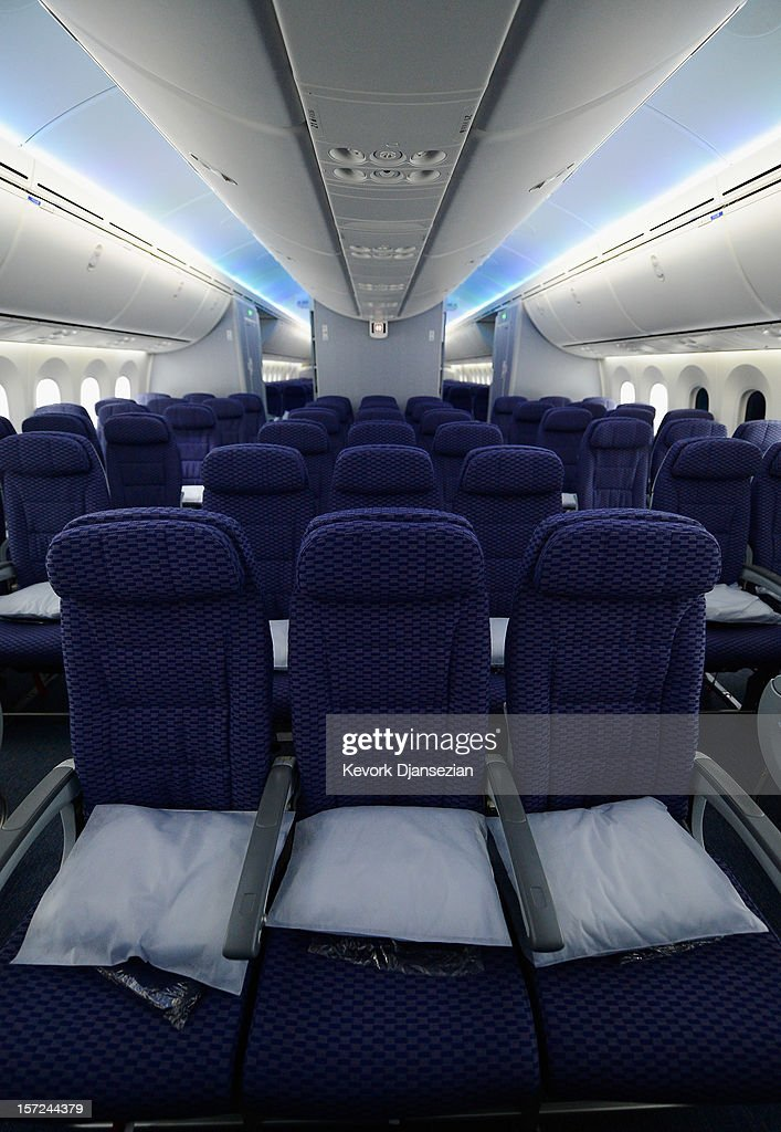 The Economy class with LED cabin lighting is seen on the United Airlines Boeing 787 Dreamliner at Los Angeles International Airport on November 30, 2012 in Los Angeles, California. In January the new jet is scheduled to begin flying daily non-stop between Los Angeles International airport and Japan's Narita International Airport and later to Shanghai staring in March. The new Boeing 787 Dreamliner will accommodate 219 travelers with 36 seat in United Business First, 70 seats in Economy Plus and 113 in Economy Class. The carbon-fiber composite material that makes up more than 50 percent of the 787 makes the plane jet and more fuel-efficient.