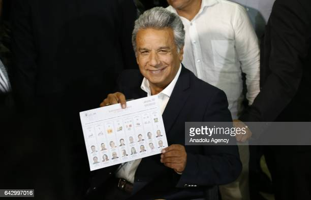 The Ecuadorean presidential candidate of the Alianza PAIS party Lenin Moreno votes at a polling station in Quito on February 19 2017 during general...