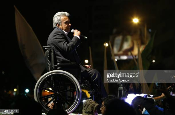 The Ecuadorean presidential candidate of the Alianza PAIS party Lenin Moreno addresses his supporters in Quito on February 19 2017