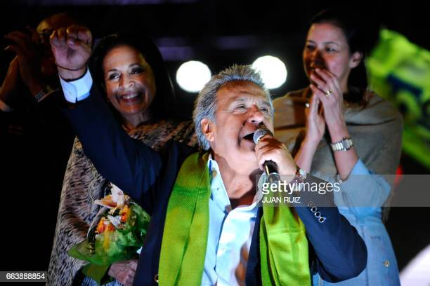 The Ecuadorean presidential candidate of the ruling Alianza PAIS party Lenin Moreno gives a speech to his supporters as they wait for the final...