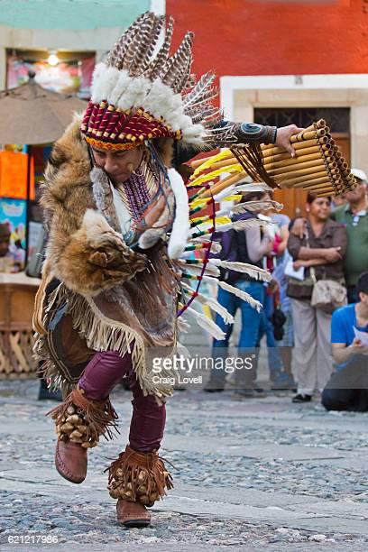 The Ecuadorian group INTI RUNAS plays pan flute and dances in traditonal Indiginous attire - GUANAJUATO, MEXICO