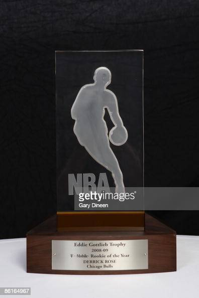 The Eddie Gottlieb trophy presented to the TMobile NBA Rookie of the Year Derrick Rose of the Chicago Bulls on April 22 2009 at the Renaissance...