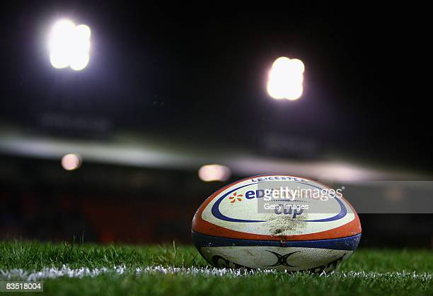 The EDF Energy Cup Rugby Ball during the EDF Energy Cup match between Leicester Tigers and Sale Sharks at Welford Road on October 31 2008 in...