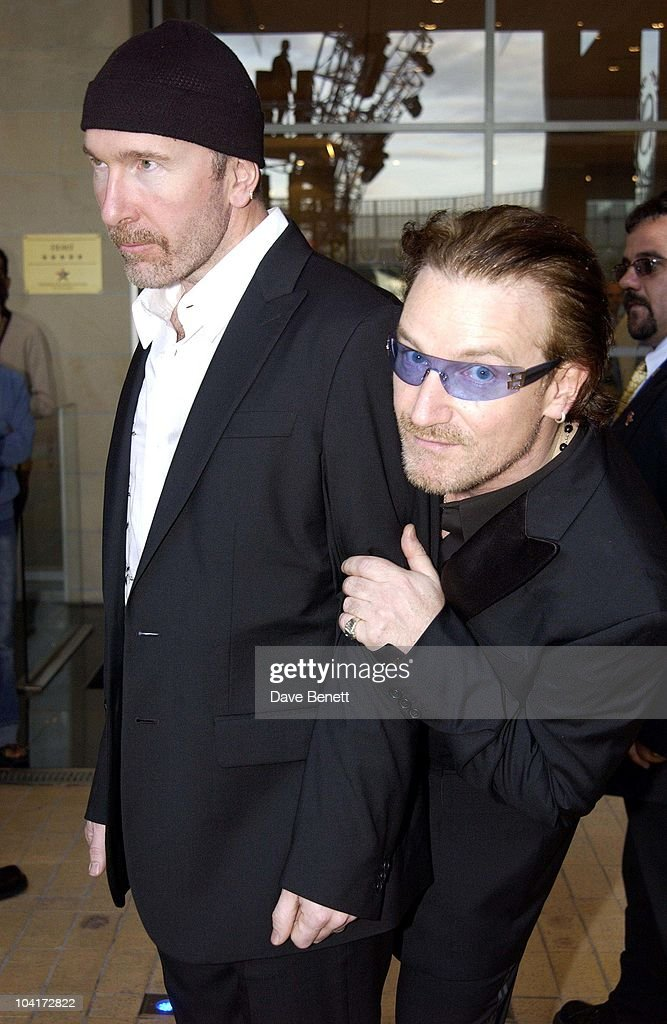 The Edge And Bono From U2 Leave The Sheriton Hotel, The Stars Of Rock And Roll Join Forces For Nelson Mandela's 46664 Concert In Cape Town, South Africa. In The Pre, Concert Build Up, This Evening A Gala Dinner Was Held At The Vergelegen Estate Outside Cape Town, South Africa Gears Up For Aids Awareness Mandela Concert 46664. The Concert Is In Association With Mtv's Staying Alive & Www.46664.com Powered By Tiscali.