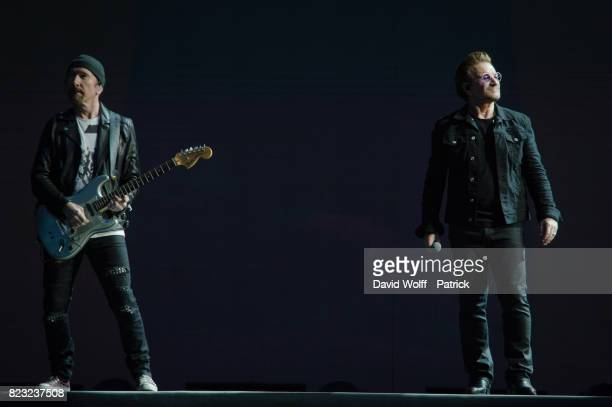 The Edge and Bono from U2 perform at Stade de France on July 26 2017 in Paris France