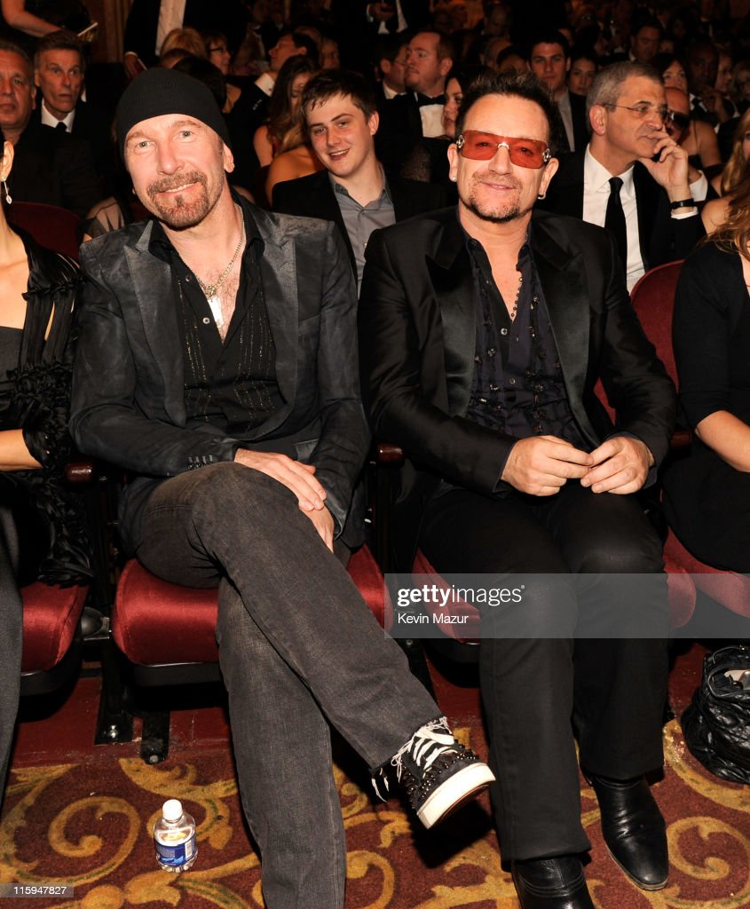 The Edge and <a gi-track='captionPersonalityLinkClicked' href=/galleries/search?phrase=Bono+-+Singer&family=editorial&specificpeople=167279 ng-click='$event.stopPropagation()'>Bono</a> of <a gi-track='captionPersonalityLinkClicked' href=/galleries/search?phrase=U2&family=editorial&specificpeople=201268 ng-click='$event.stopPropagation()'>U2</a> attend the 65th Annual Tony Awards at the Beacon Theatre on June 12, 2011 in New York City.