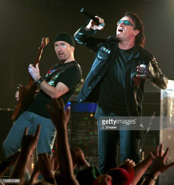 The Edge and Bono of U2 during U2 Elevation Tour Oakland at Oakland Arena in Oakland California United States