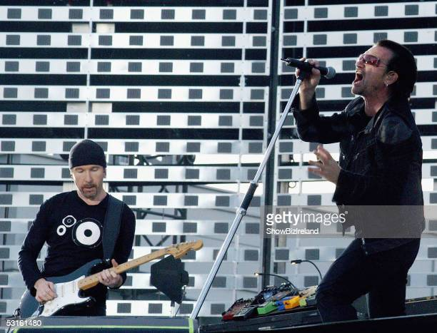 The Edge and Bono of U2 perfom during their hometown concert at Croke Park Stadium on June 27 2005 in Dublin Ireland The 'Vertigo//2005' World tour's...