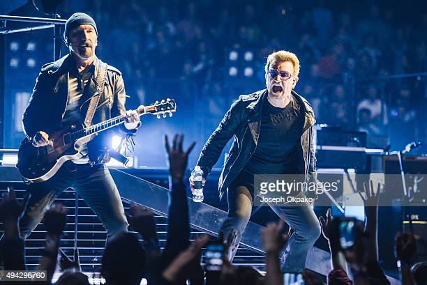 The Edge and Bono of U2 perform at The O2 Arena on October 25 2015 in London England