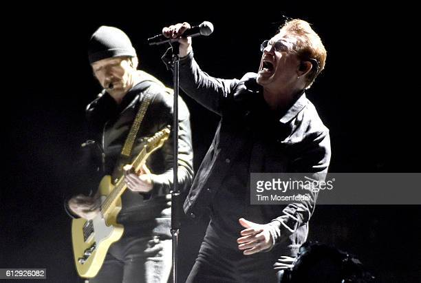 The Edge and Bono of U2 perform during the UCSF Benioff Children's Hospital benefit concert at Cow Palace on October 5 2016 in San Francisco...