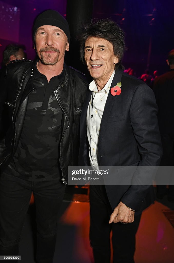 The Edge (L) and Ronnie Wood attend a drinks reception at The Stubhub Q Awards 2016 at The Roundhouse on November 2, 2016 in London, England.