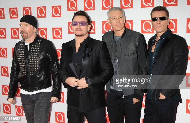 The Edge Bono Adam Clayton Larry Mullen Jr of U2 attends the Q awards at The Grosvenor House Hotel on October 24 2011 in London England