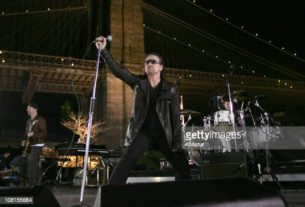 The Edge Bono and Larry Mullen Jr of U2 spend the day on the streets of New York City shooting a video for their new album How to Dismantle an Atomic...