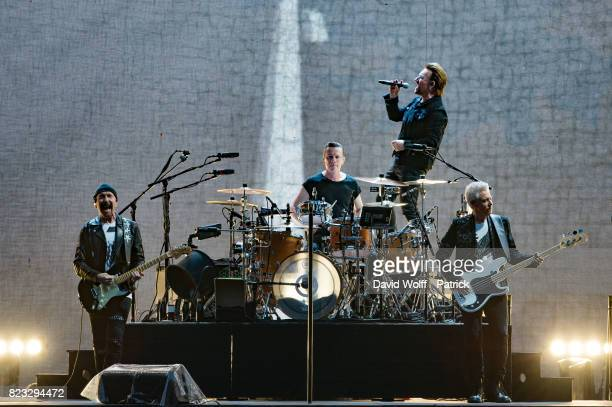 The Edge Bono Larry Mullen Jr and Adam Clayton from U2 perform at Stade de France on July 26 2017 in Paris France