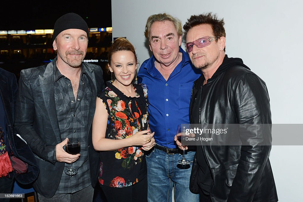 The Edge, <a gi-track='captionPersonalityLinkClicked' href=/galleries/search?phrase=Kylie+Minogue&family=editorial&specificpeople=201671 ng-click='$event.stopPropagation()'>Kylie Minogue</a>, <a gi-track='captionPersonalityLinkClicked' href=/galleries/search?phrase=Andrew+Lloyd+Webber&family=editorial&specificpeople=157705 ng-click='$event.stopPropagation()'>Andrew Lloyd Webber</a> and <a gi-track='captionPersonalityLinkClicked' href=/galleries/search?phrase=Bono+-+Singer&family=editorial&specificpeople=167279 ng-click='$event.stopPropagation()'>Bono</a> attend Jesus Christ Superstar, the arena tour at The O2 Arena on September 23, 2012 in London, England.