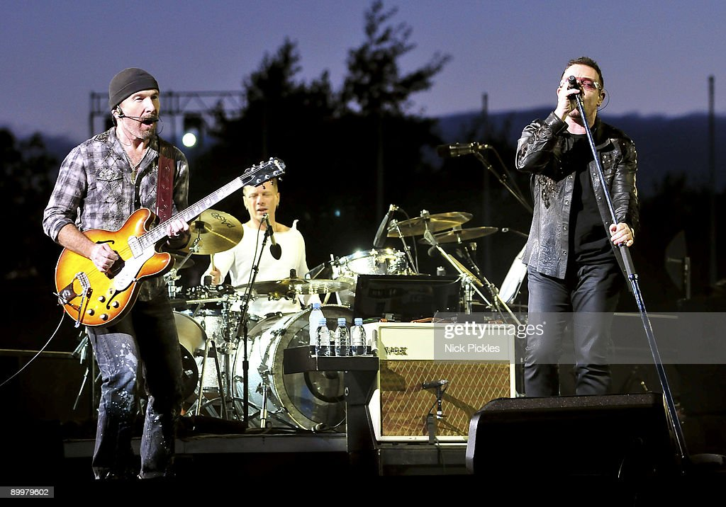 The Edge (L), Larry Mullen, Jr. (C) and Bono (R) of U2 perform at Don Valley Stadium on August 20, 2009 in Sheffield, England.