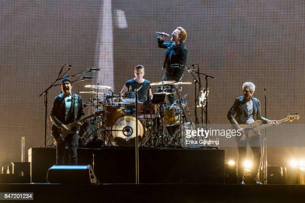 The Edge Larry Mullen Jr Bono and Adam Clayton of U2 perform during The Joshua Tree Tour 2017 at MercedesBenz Superdome on September 14 2017 in New...
