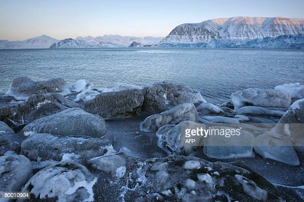 The edge of Kongsbreen glacial bay the Kings Glacier is pictured on February 26 2008 as Kongsbreen the most active calving glacier in Svalbard has...
