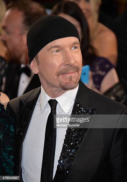 The Edge of U2 attends the Oscars held at Hollywood Highland Center on March 2 2014 in Hollywood California