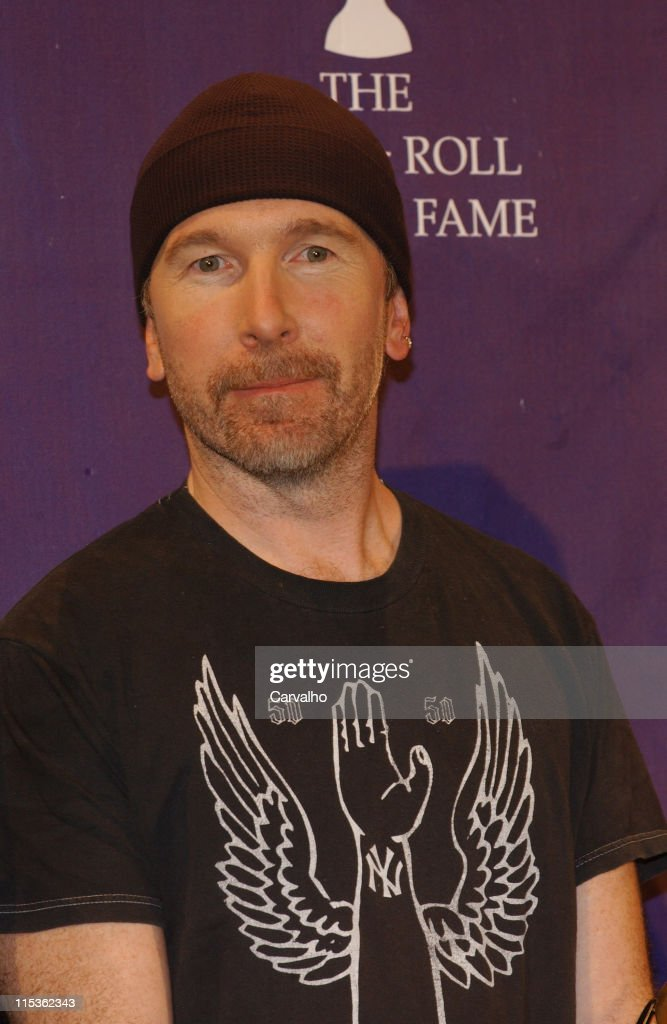 The Edge, of U2, inductee during 20th Annual Rock and Roll Hall of Fame Induction Ceremony - Press Room at Waldorf Astoria Hotel in New York City, New York, United States.