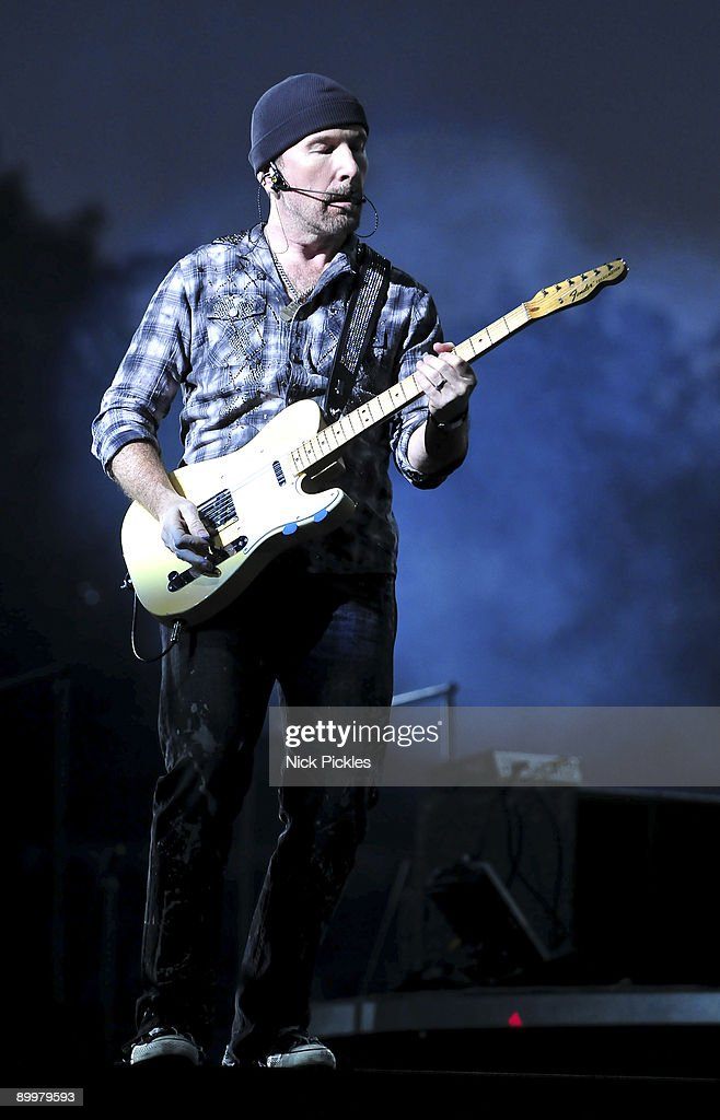 The Edge of U2 performs at Don Valley Stadium on August 20, 2009 in Sheffield, England.