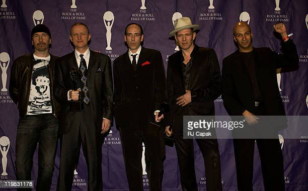 The Edge of U2 with Terry Chimes Mick Jones and Paul Simonon of The Clash and Tom Morello of Audioslave