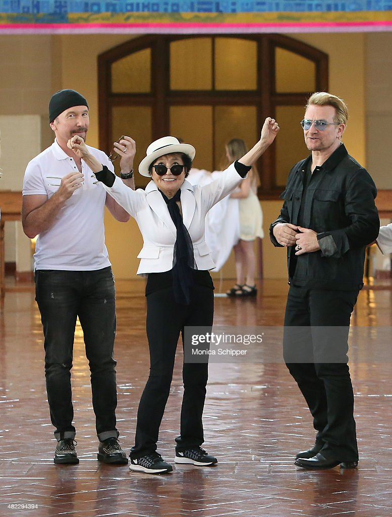 The Edge, Yoko Ono and Bono attend the Amnesty International Tapestry Honoring John Lennon Unveiling at Ellis Island on July 29, 2015 in New York City.