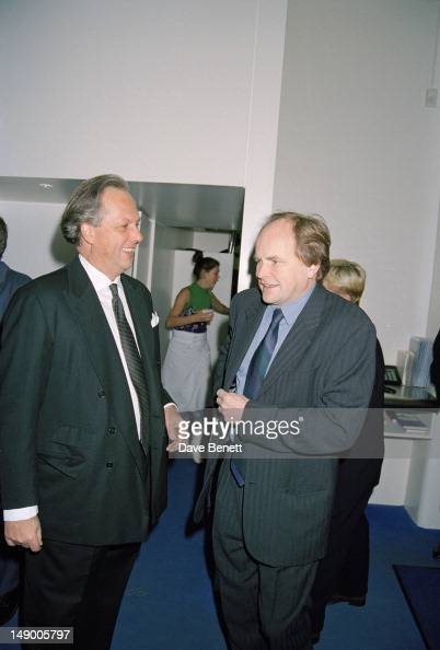 The editor of Vanity Fair magazine Graydon Carter with British radio and television presenter Clive Anderson at a party given by Vanity Fair at the...