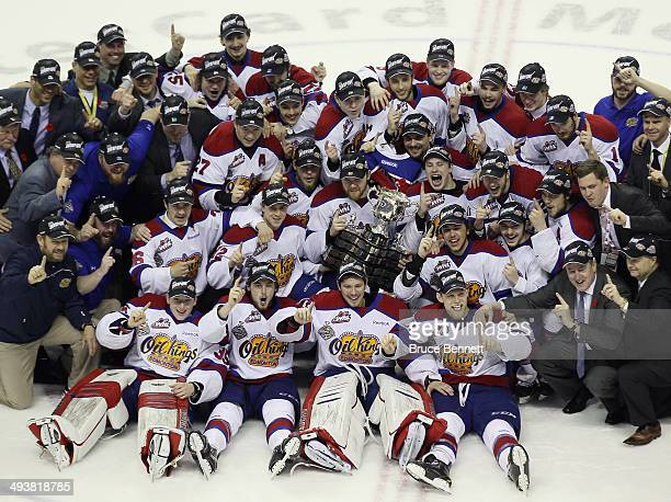 The Edmonton Oil Kings celebrate their victory over the Guelph Storm in the 2014 Memorial Cup championship game at Budweiser Gardens on May 25 2014...