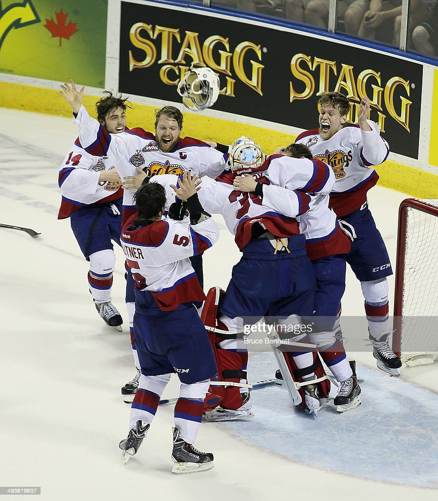 The Edmonton Oil Kings celebrate their victory over the Guelph Storm in the 2014 Memorial Cup championship game at Budweiser Gardens on May 25, 2014 in London, Ontario, Canada. The Oil Kings defeated the Storm 6-3.