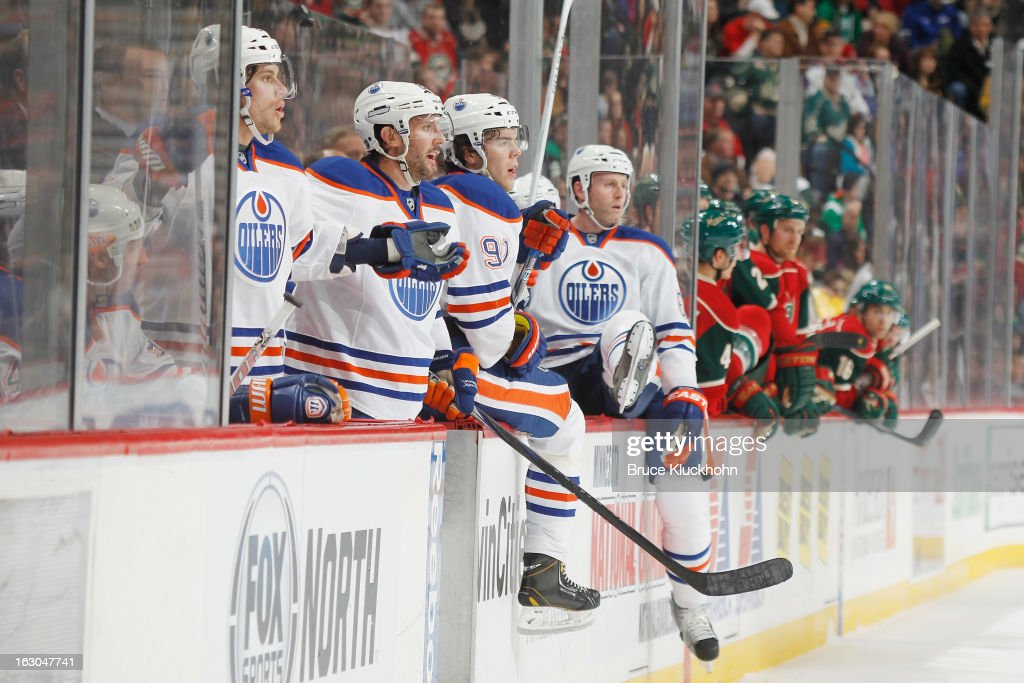 The Edmonton Oilers bench reacts to a too many men on the ice penalty during the game against the Minnesota Wild on March 3, 2013 at the Xcel Energy Center in Saint Paul, Minnesota.