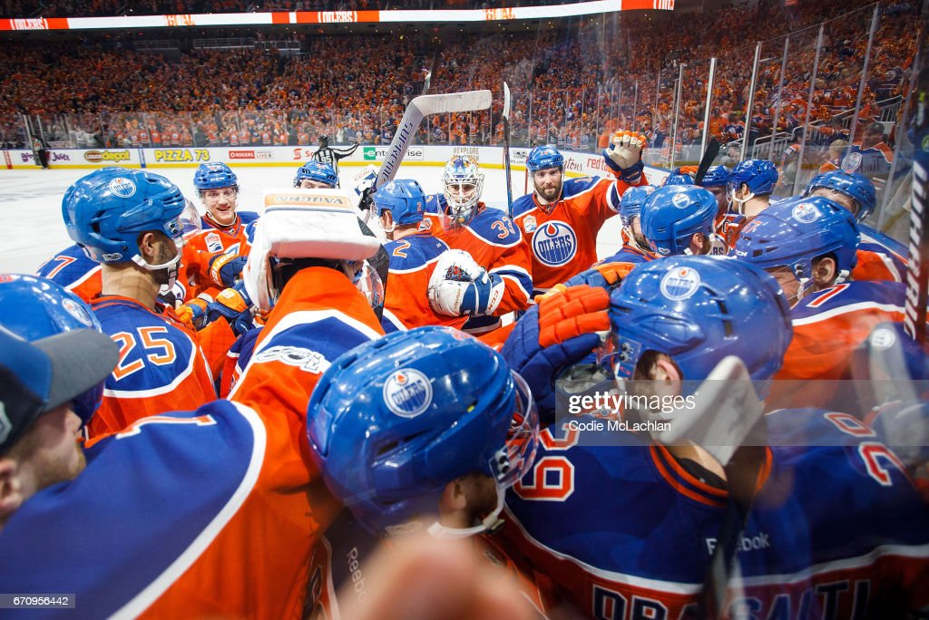 The Edmonton Oilers celebrate their victory against the San Jose Sharks in Game Five of the Western Conference First Round during the 2017 NHL Stanley Cup Playoffs at Rogers Place on April 20, 2017 in Edmonton, Alberta, Canada.