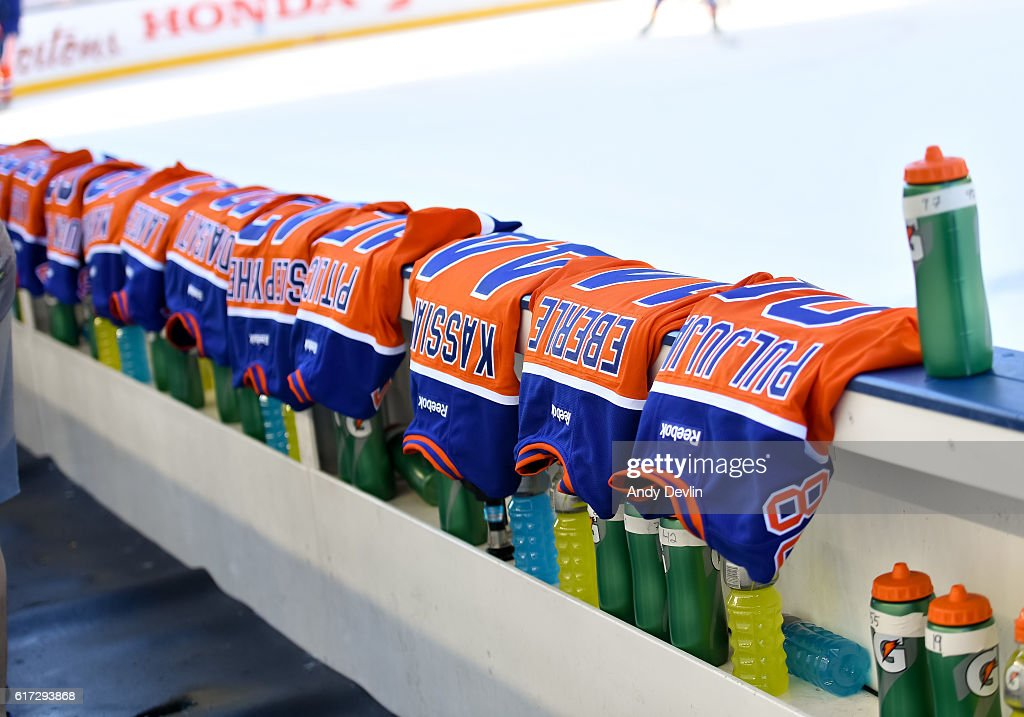 The Edmonton Oilers jerseys lines up for practice in advance of the 2016 Tim Hortons NHL Heritage Classic game at Investors Group Field on October 22, 2016 in Winnipeg, Canada.