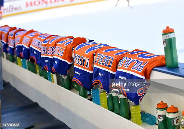 The Edmonton Oilers jerseys lines up for practice in advance of the 2016 Tim Hortons NHL Heritage Classic game at Investors Group Field on October 22...