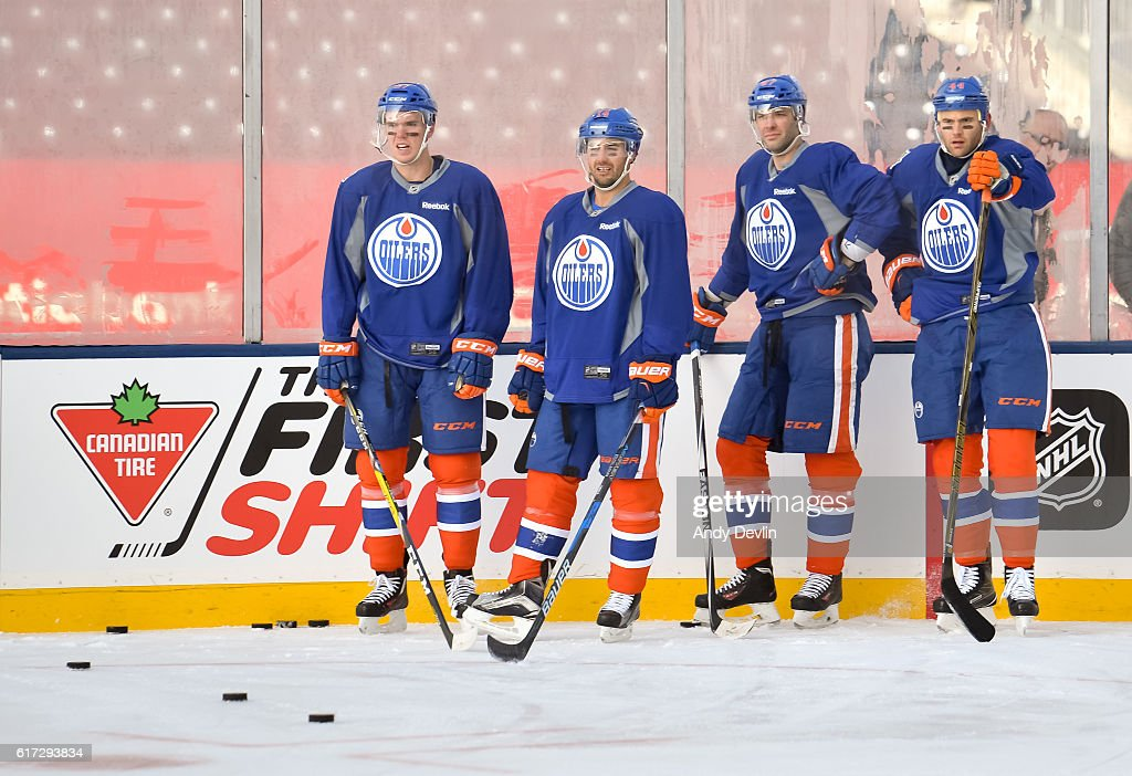 The Edmonton Oilers practice in advance of the 2016 Tim Hortons NHL Heritage Classic game at Investors Group Field on October 22, 2016 in Winnipeg, Canada.