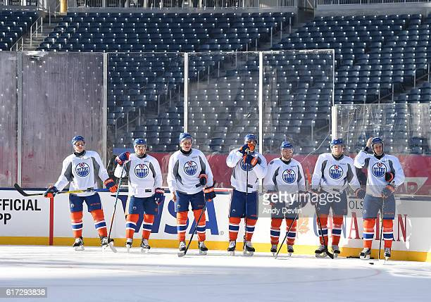 The Edmonton Oilers practice in advance of the 2016 Tim Hortons NHL Heritage Classic game at Investors Group Field on October 22 2016 in Winnipeg...