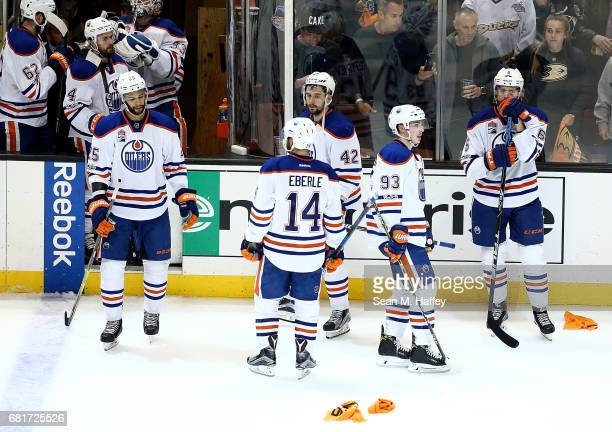 The Edmonton Oilers react after their 21 loss to the Anaheim Ducks in Game Seven of the Western Conference Second Round during the 2017 NHL Stanley...