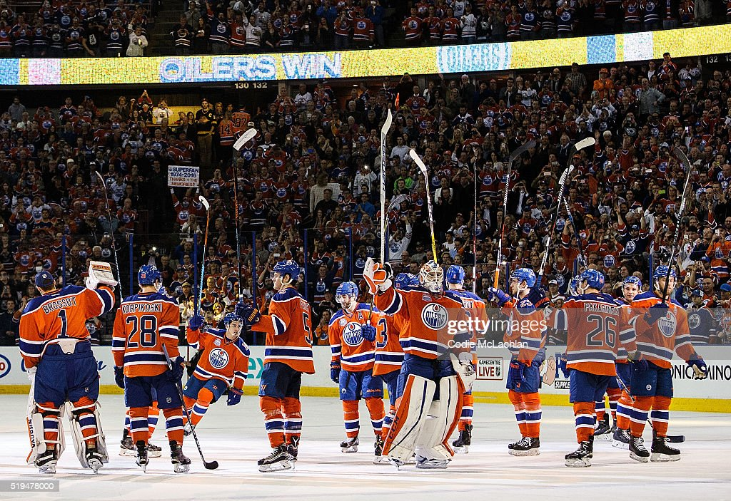 The Edmonton Oilers salute the fans after defeating the Vancouver Canucks on April 6, 2016 at Rexall Place in Edmonton, Alberta, Canada. The game is the final game the Oilers will play at Rexall Place before moving to Rogers Place next season.