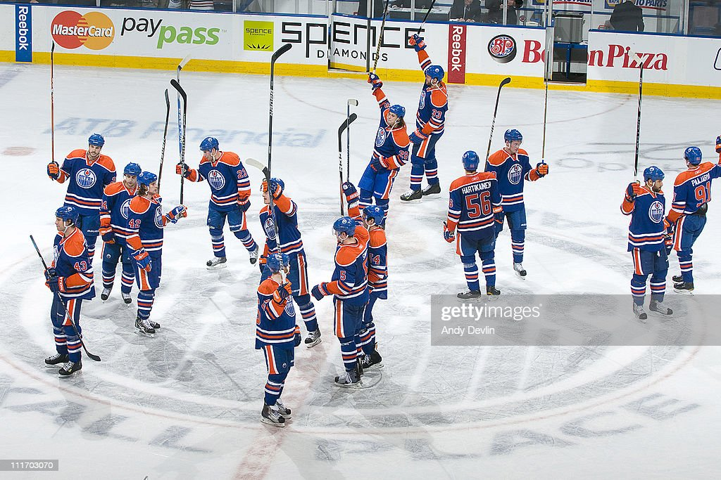 The Edmonton Oilers salute the sell-out crowd after a 2-0 win over the Vancouver Canucks at Rexall Place on April 5, 2011 in Edmonton, Alberta, Canada.