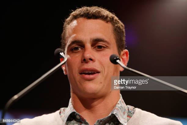 The Education and Training Excellence Award winner Ed Curnow speaks during the AFL Players' MVP Awards at Shed 14 Central Pier on September 12 2017...