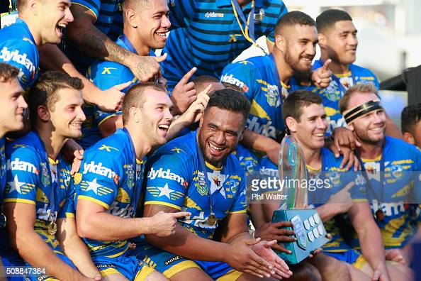 The Eels celebrates with the trophy following the final match between the New Zealand Warriors and the Parramatta Eels at the 2016 NRL Auckland Nines...