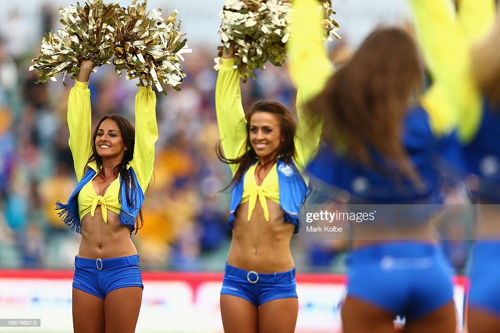 The Eels cheers girls perform during the round five NRL match between the Parramatta Eels and the Cronulla Sharks at Parramatta Stadium on April 6, 2013 in Sydney, Australia.