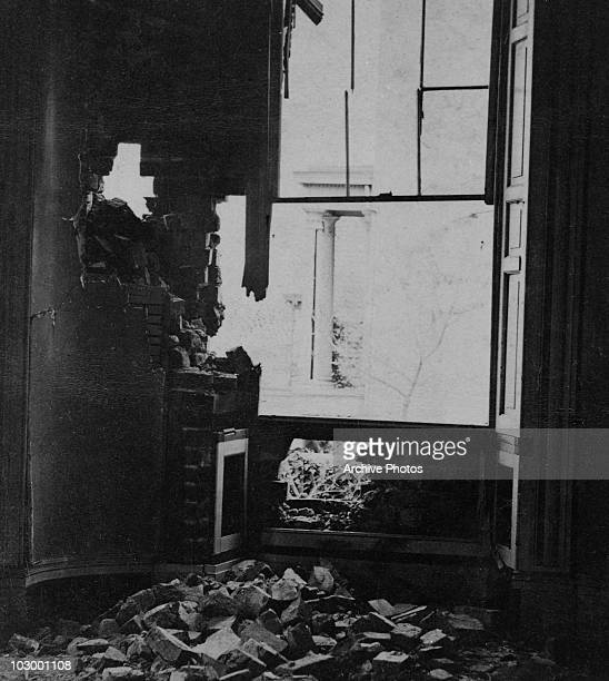 The effect of a shell bursting through the East Parlour of Dunlop House on Bollingbrook Street on the north side of Petersburg Virginia USA circa...