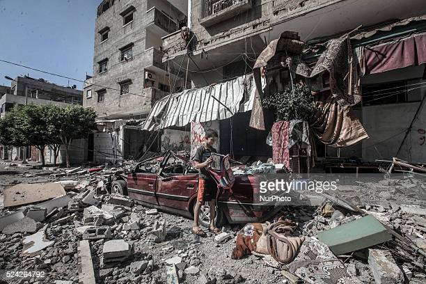 The effects of the destruction caused by the bombing of Israeli aircraft to Debabeche family home the center of Gaza City on July 10 2014